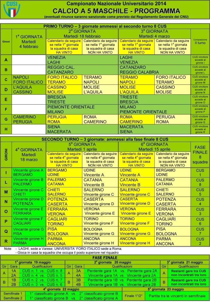 CALCIO 5 tabellone 2014