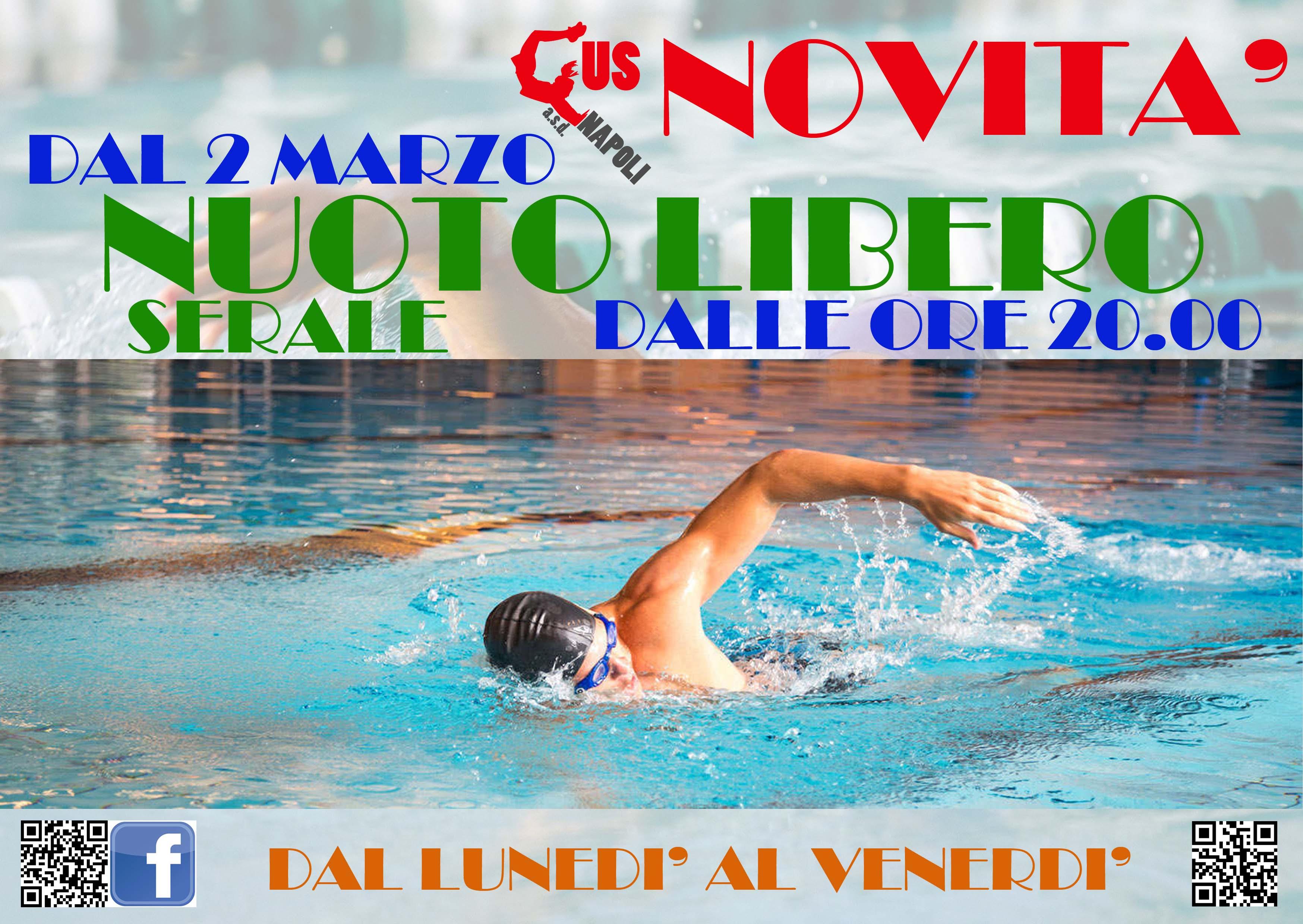Cus napoli dal 2 marzo il nuoto libero serale dalle ore - Piscina giussano nuoto libero ...