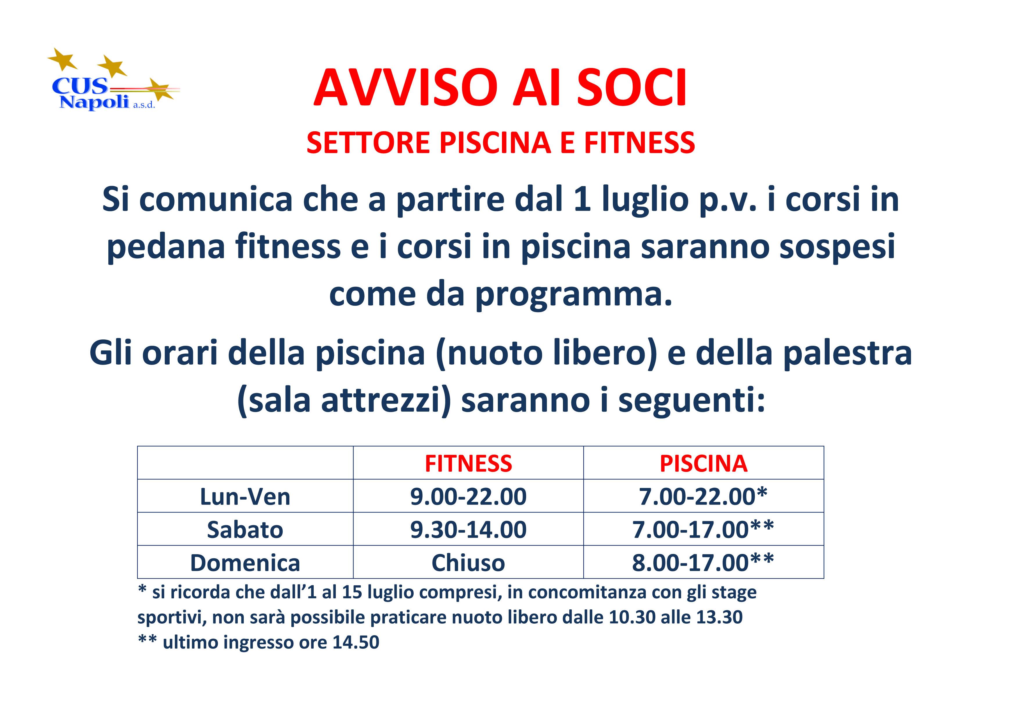 Cus napoli orari piscina e palestra luglio 2016 - Piscina valdobbiadene orari nuoto libero ...