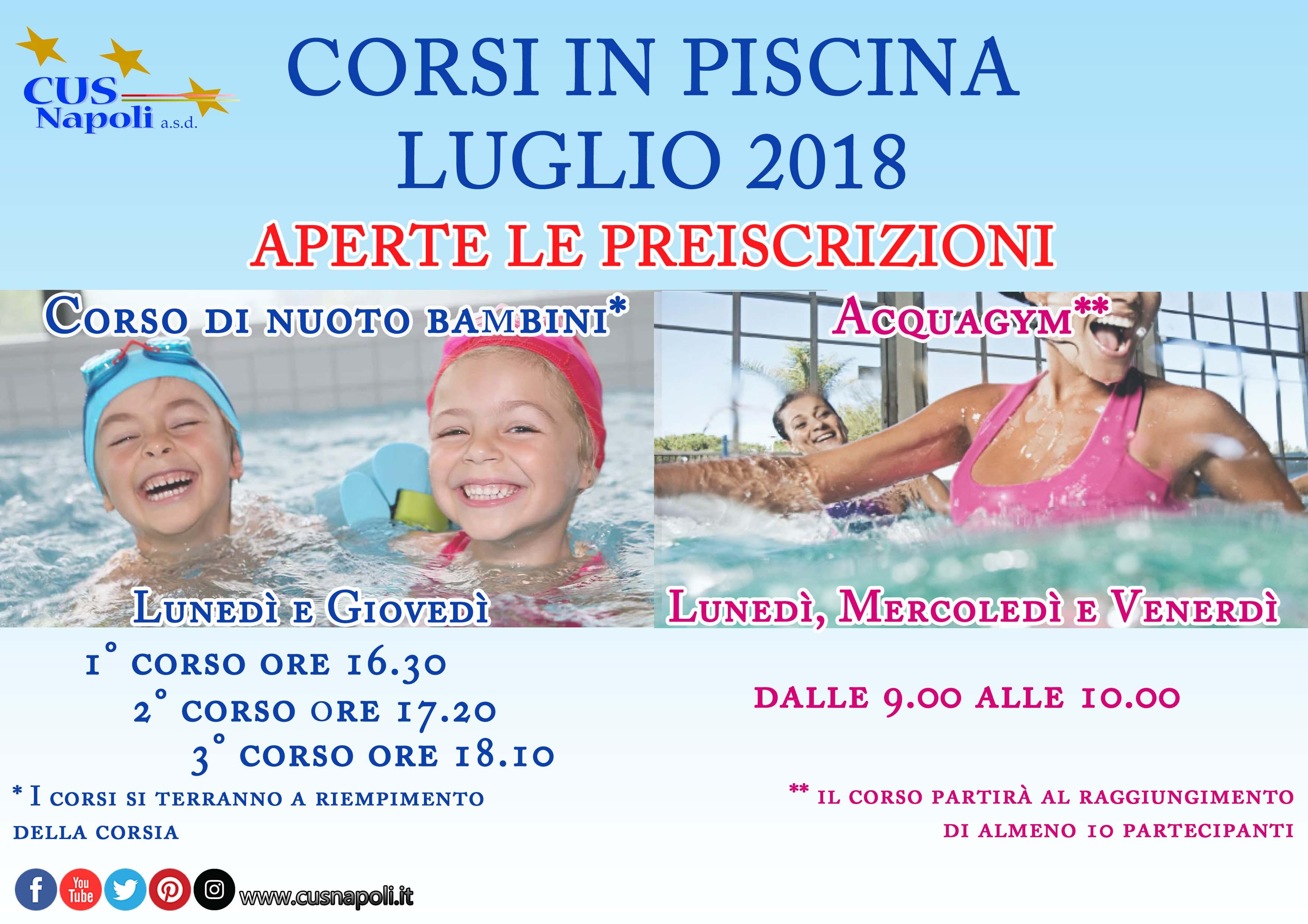 Cus napoli corsi di acquagym e nuoto bambini anche a luglio - Corsi per neonati in piscina ...